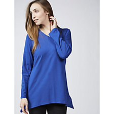 169388 - Denim & Co. Solid Jersey Roll Tab Sleeve Trapeze Top