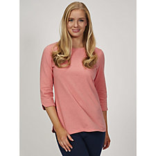 Denim & Co. Jersey Round Neck 3/4 Sleeve Top with Curved Hem