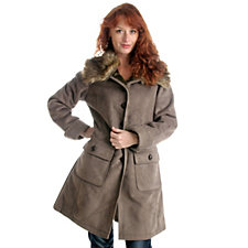Centigrade Faux Shearling Coat with Faux Fur Collar