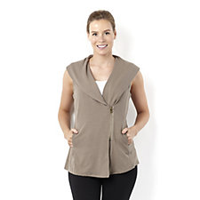 The Lisa Rinna Collection Shaw Collar Zip Front Vest