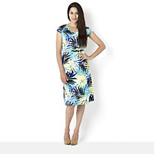 Ronni Nicole Tropical Print Swing Cap Sleeve Dress