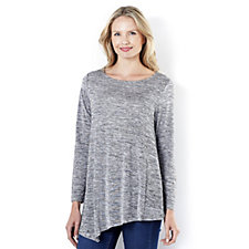 Fashion by Together Melange Knit Asymmetric Hem Tunic