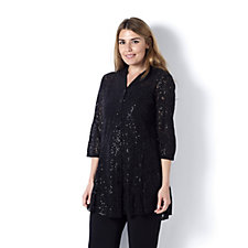 Sequin Lace Shirt by Michele Hope