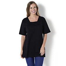 Denim & Co. Oversized Square Neck Elbow Sleeve T-Shirt