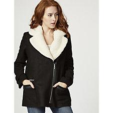 Centigrade Faux-Sherpa Collar Asymmetric Zip Jacket