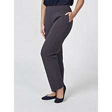 Dennis Basso Caviar Crepe Straight Leg Trousers with Seam Detail