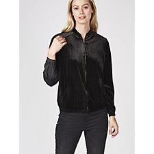 Zip Front Stretch Velvet Bomber Jacket by Nina Leonard