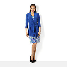 Solid Jacket & Printed Sleeveless Dress Set By Nina Leonard