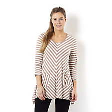 Antthony Designs 3/4 Sleeve Chevron Stripe Tunic with Pockets
