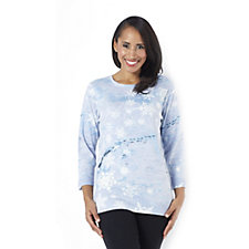 Artscapes Snowflakes 3/4 Sleeve Round Neck Top