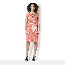 Ronni Nicole Sleeveless Palm Print Dress with Key Hole Neckline