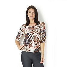Kim & Co Palm Overlay Brazil Knit Jersey 3/4 Sleeve Ruched Neck Top