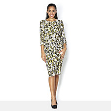 Fashion by Together 3/4 Sleeve Printed Dress with Top Overlay