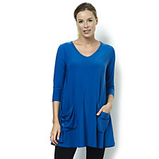 Yong Kim Stretch Jersey Swing Tunic with Patch Pocket Detail