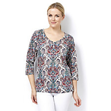 Artscapes Moroccan Paisley Print 3/4 Sleeve Round Neck Top