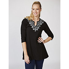 Artscapes Notch Neck 3/4 Sleeve Tunic with Placement Print
