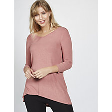 3/4 Sleeve V Neck Top with Hi Lo Hem by Nina Leonard