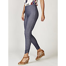 Grace Denim Look Petite Jeggings with Side Ruching Detail