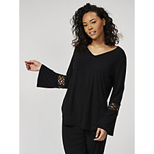 Jersey Tunic with Lace Cuff Detail by Michele Hope