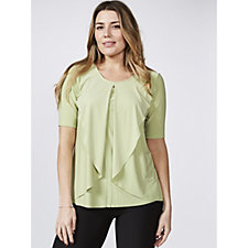 Scoop Neck Top with Front Ruffle Overlay Detail by Nina Leonard