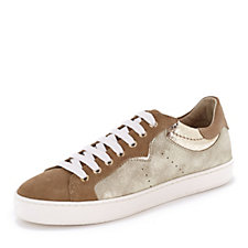 171890 - Manas Suede Leather Lace Up Trainer with Metallic Panel