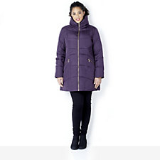 Centigrade Down & Feather Zip Detail Coat with Concealed Hood