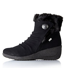 Rieker Mombasa Button Detail Ankle Boot with Faux Fur Trim