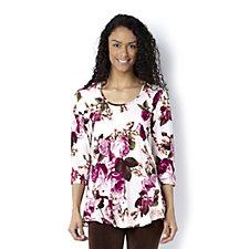 Kim & Co Renaissance Print Dip Side Blouson Sleeve Tunic
