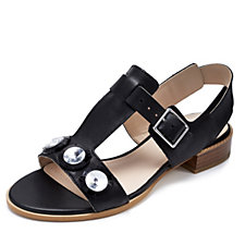 Clarks Bliss Melody Peep Toe Wedge Sandal with Gem Detailing