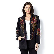 Bob Mackie Embroidered Fleece Jacket