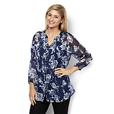 Fashion by Together Printed Crinkle Blouse with Cami