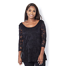 Attitudes by Renee Floral Lace Tunic