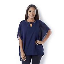 Fashion by Together Cape Top with Beaded Neckline and Keyhole Detail
