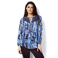Fashion by Together Crochet Detail Floral Print Blouse