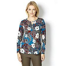 Kim & Co Brazil Knit Wild Paisley Keyhole Neckline Long Sleeve Top