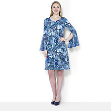 Coco Bianco Printed Jersey Fluted Chiffon Sleeve Dress