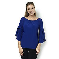 Coco Bianco Off The Shoulder Top with 3/4 Bell Sleeves