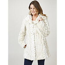 Dennis Basso Snow Lynx Shawl Collar Faux Fur Coat