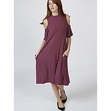 Cold Shoulder Trapeze Dress with Flutter Sleeves & Pockets by Nina Leonard
