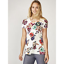 Grace Short Sleeve Printed Tunic with Crossover Front Neck Detail