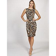 Sid Animal Print Sleeveless Dress by Onjenu London