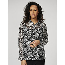 Printed Lace Shirt with Frill Sleeves by Michele Hope