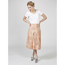Du Jour Metallic Pleated Midi Skirt
