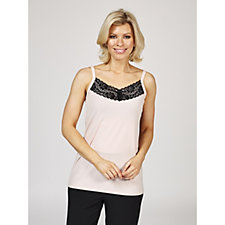 Kim & Co Brazil Knit Sleeveless Lace Trim Top
