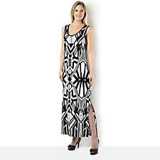 Attitudes by Renee Geometric Print Sleeveless Jersey Maxi Dress