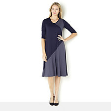 Yong Kim Long Sleeve Dress with Colour Contrast Detail