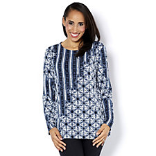 Bob Mackie Long Sleeve Printed Patchwork Lace Top