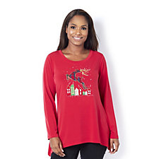 Quacker Factory Embroidered Christmas Motif Tunic