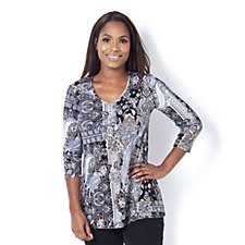 Attitudes by Renee Printed V Neck Tunic