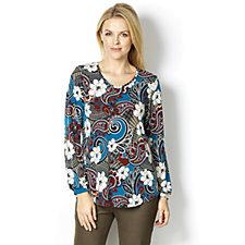 Kim & Co Brazil Knit Wild Paisley Blousen V Neck Long Sleeve Tunic